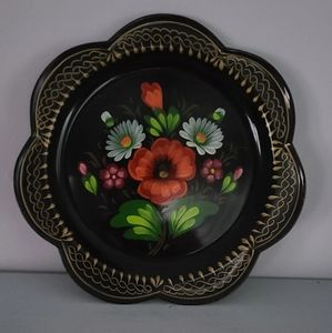 "Beautiful, 7"" Hand Painted, Russian Metal Tray"